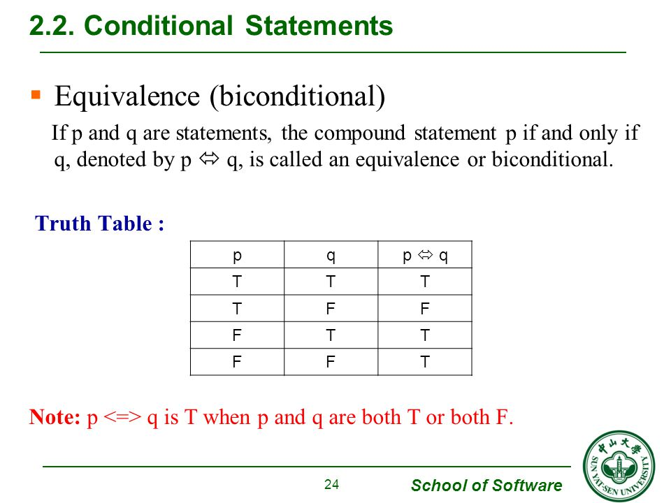 School of Software  Equivalence (biconditional) If p and q are statements, the compound statement p if and only if q, denoted by p  q, is called an equivalence or biconditional.