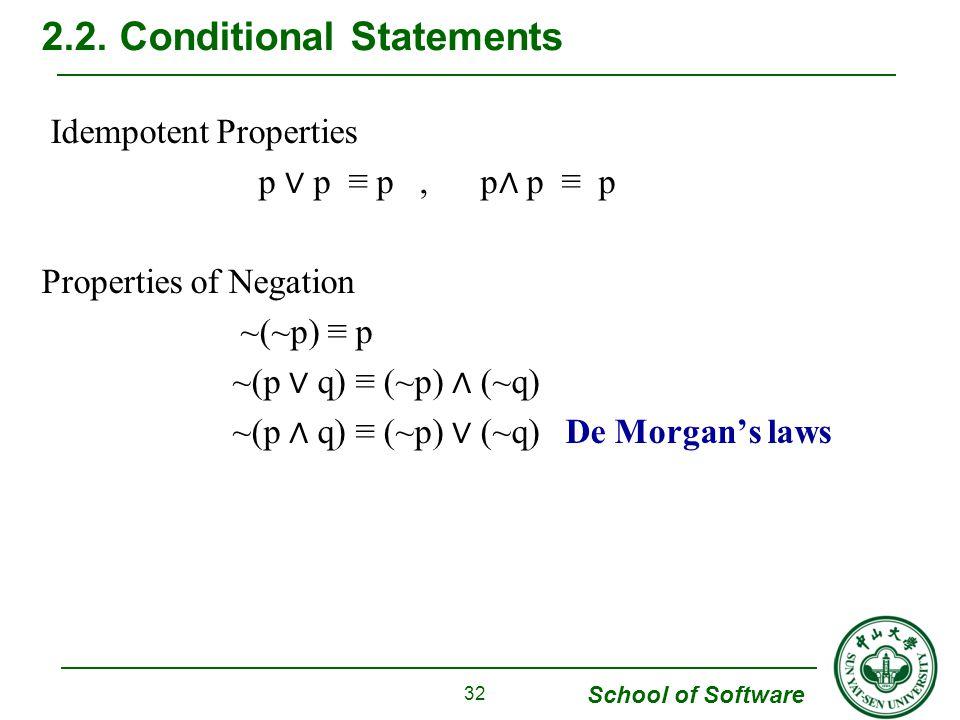 School of Software Idempotent Properties p ∨ p ≡ p, p ∧ p ≡ p Properties of Negation ~(~p) ≡ p ~(p ∨ q) ≡ (~p) ∧ (~q) ~(p ∧ q) ≡ (~p) ∨ (~q) De Morgan's laws 2.2.