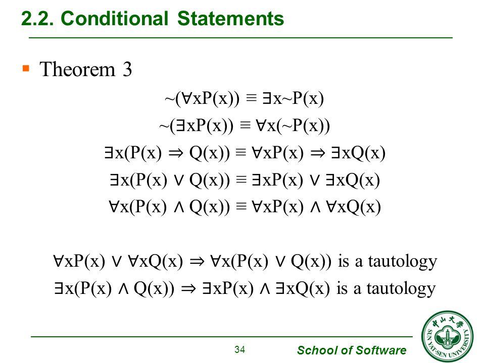 School of Software  Theorem 3 ~( ∀ xP(x)) ≡ ∃ x~P(x) ~( ∃ xP(x)) ≡ ∀ x(~P(x)) ∃ x(P(x) ⇒ Q(x)) ≡ ∀ xP(x) ⇒ ∃ xQ(x) ∃ x(P(x) ∨ Q(x)) ≡ ∃ xP(x) ∨ ∃ xQ(x) ∀ x(P(x) ∧ Q(x)) ≡ ∀ xP(x) ∧ ∀ xQ(x) ∀ xP(x) ∨ ∀ xQ(x) ⇒ ∀ x(P(x) ∨ Q(x)) is a tautology ∃ x(P(x) ∧ Q(x)) ⇒ ∃ xP(x) ∧ ∃ xQ(x) is a tautology 2.2.