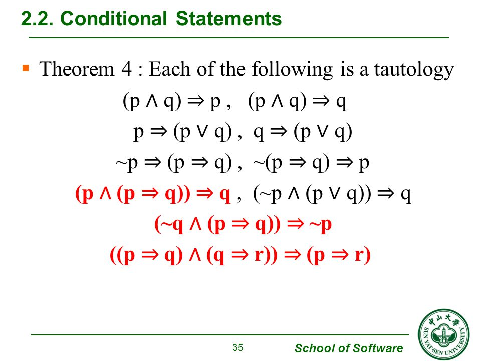 School of Software  Theorem 4 : Each of the following is a tautology (p ∧ q) ⇒ p, (p ∧ q) ⇒ q p ⇒ (p ∨ q), q ⇒ (p ∨ q) ~p ⇒ (p ⇒ q), ~(p ⇒ q) ⇒ p (p ∧ (p ⇒ q)) ⇒ q, (~p ∧ (p ∨ q)) ⇒ q (~q ∧ (p ⇒ q)) ⇒ ~p ((p ⇒ q) ∧ (q ⇒ r)) ⇒ (p ⇒ r) 2.2.
