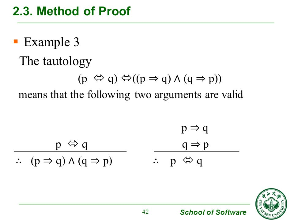 School of Software  Example 3 The tautology (p  q)  ((p ⇒ q) ∧ (q ⇒ p)) means that the following two arguments are valid p ⇒ q p  q q ⇒ p ∴ (p ⇒ q) ∧ (q ⇒ p) ∴ p  q 2.3.