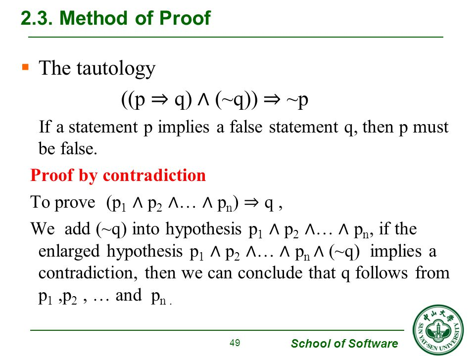 School of Software  The tautology ((p ⇒ q) ∧ (~q)) ⇒ ~p If a statement p implies a false statement q, then p must be false.