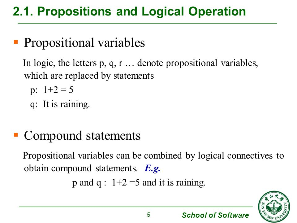School of Software  Universal Quantifiers ( ∀ ) The Universal Quantifiers of a predicate P(x) is the statement for all values of x, P(x) is true , denoted by ∀ x P(x) Example 8 (a) P(x) : -(-x) = x is a predicate that makes sense for all real number x.