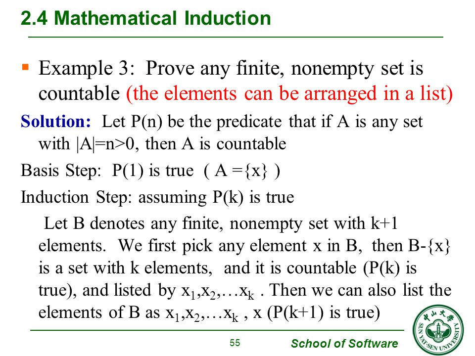 School of Software  Example 3: Prove any finite, nonempty set is countable (the elements can be arranged in a list) Solution: Let P(n) be the predicate that if A is any set with |A|=n>0, then A is countable Basis Step: P(1) is true ( A ={x} ) Induction Step: assuming P(k) is true Let B denotes any finite, nonempty set with k+1 elements.