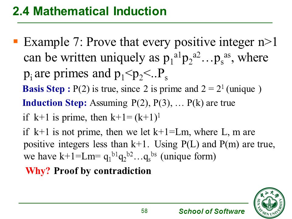 School of Software  Example 7: Prove that every positive integer n>1 can be written uniquely as p 1 a1 p 2 a2 …p s as, where p i are primes and p 1 <p 2 <..P s Basis Step : P(2) is true, since 2 is prime and 2 = 2 1 (unique ) Induction Step: Assuming P(2), P(3), … P(k) are true if k+1 is prime, then k+1= (k+1) 1 if k+1 is not prime, then we let k+1=Lm, where L, m are positive integers less than k+1.