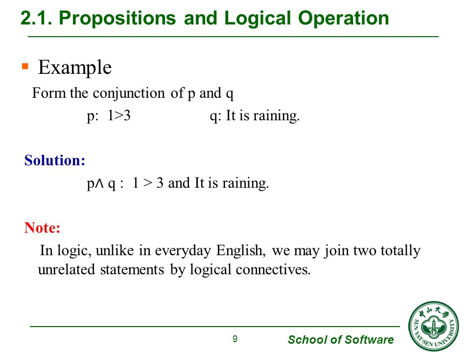 School of Software  Two Structures with similar properties (Theorem 1) Structure 1 (logic operations): (propositions, ∧, V, ~) Structure 2 (sets operations) (sets, U, ∩, - ) 2.2.