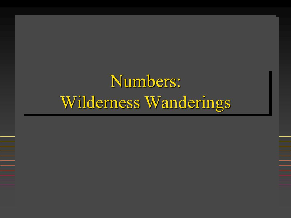 Numbers: Wilderness Wanderings