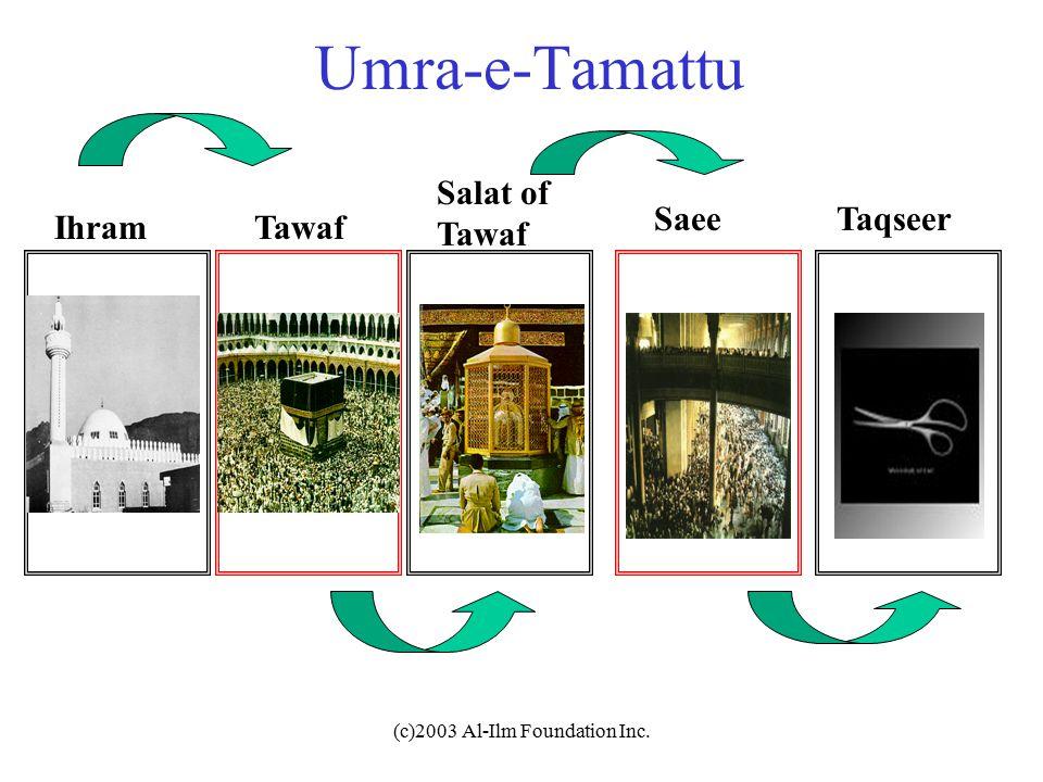 (c)2003 Al-Ilm Foundation Inc. Umra-e-Tamattu IhramTawaf Salat of Tawaf SaeeTaqseer