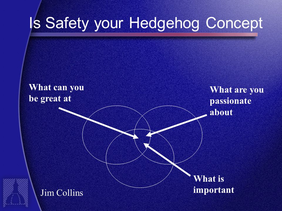 Is Safety your Hedgehog Concept What can you be great at What are you passionate about What is important Jim Collins