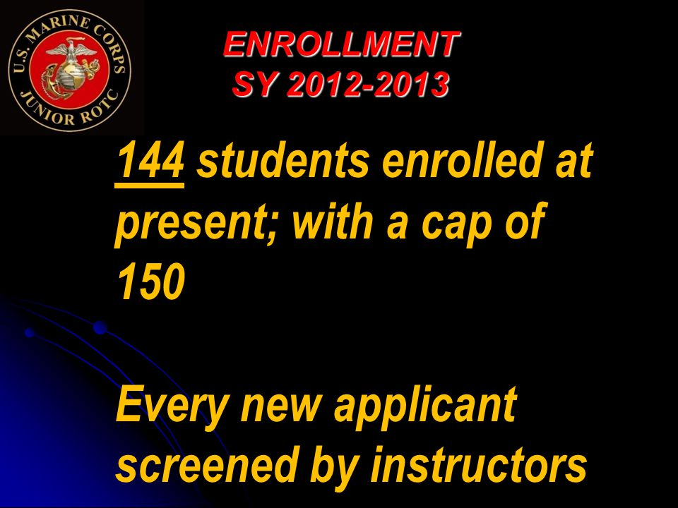 ENROLLMENT SY 2012-2013 144 students enrolled at present; with a cap of 150 Every new applicant screened by instructors