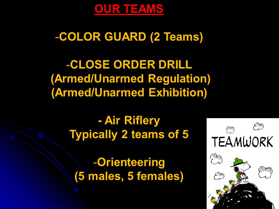 OUR TEAMS -COLOR GUARD (2 Teams) -CLOSE ORDER DRILL (Armed/Unarmed Regulation) (Armed/Unarmed Exhibition) - Air Riflery Typically 2 teams of 5 -Orienteering (5 males, 5 females)