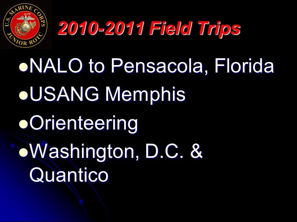 2010-2011 Field Trips NALO to Pensacola, Florida NALO to Pensacola, Florida USANG Memphis USANG Memphis Orienteering Orienteering Washington, D.C.