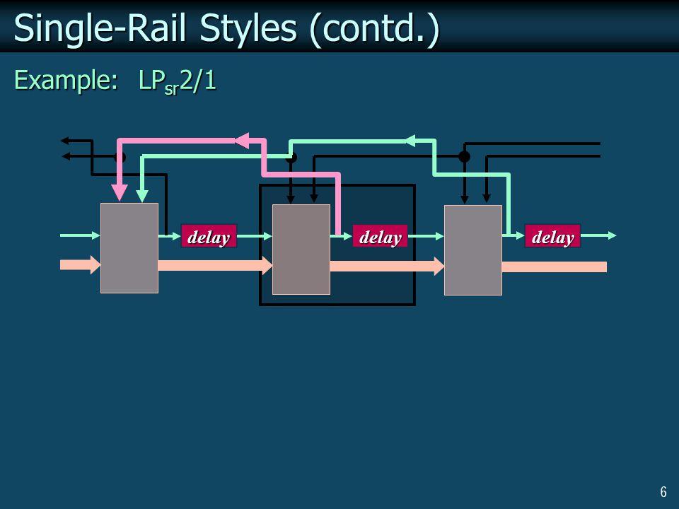 6 Single-Rail Styles (contd.) Example: LP sr 2/1 delaydelay delay