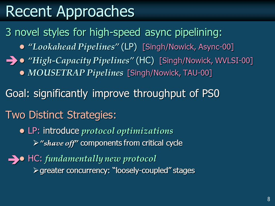 8 Recent Approaches 3 novel styles for high-speed async pipelining: Lookahead Pipelines (LP) [Singh/Nowick, Async-00] Lookahead Pipelines (LP) [Singh/Nowick, Async-00] High-Capacity Pipelines (HC) [Singh/Nowick, WVLSI-00] High-Capacity Pipelines (HC) [Singh/Nowick, WVLSI-00] MOUSETRAP Pipelines [Singh/Nowick, TAU-00] MOUSETRAP Pipelines [Singh/Nowick, TAU-00] Goal: significantly improve throughput of PS0 Two Distinct Strategies: LP: introduce protocol optimizations LP: introduce protocol optimizations  shave off components from critical cycle HC: fundamentally new protocol HC: fundamentally new protocol  greater concurrency: loosely-coupled stages  