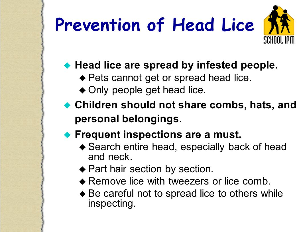 u Prevention: Inspect frequently.u Treatment: May include use of lice shampoo.