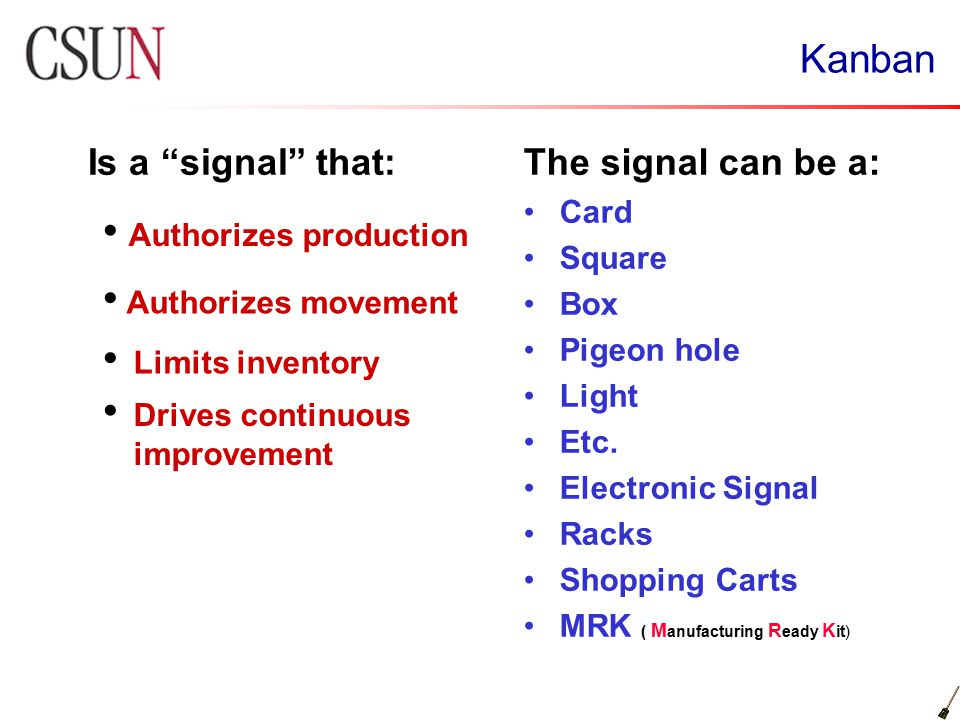 "Kanban Is a ""signal"" that:The signal can be a: Card Square Box Pigeon hole Light Etc. Electronic Signal Racks Shopping Carts MRK ( M anufacturing R ea"
