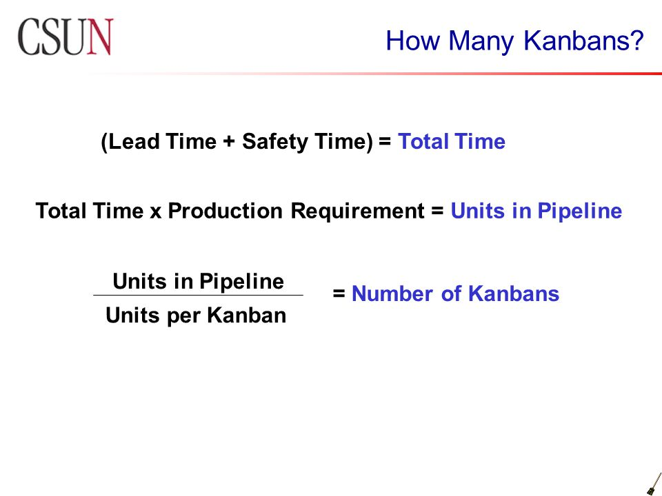How Many Kanbans? (Lead Time + Safety Time) = Total Time Total Time x Production Requirement = Units in Pipeline Units in Pipeline Units per Kanban =