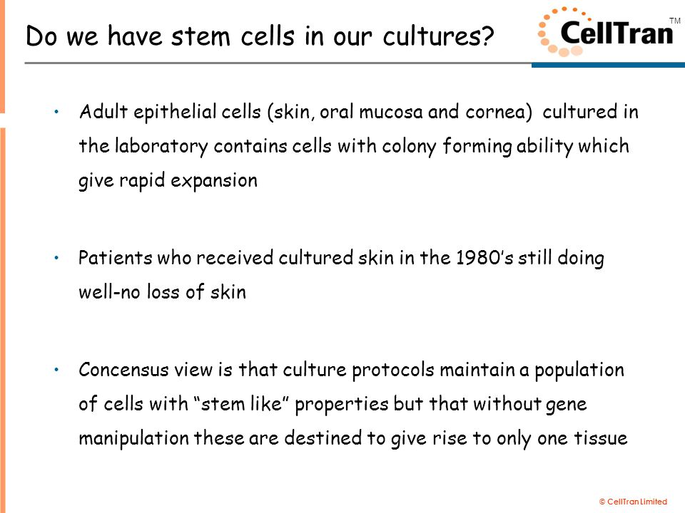 © CellTran Limited TM There had to be a simpler way to get cells to patients… Professor Rob Short-Surface Engineer Professor Sheila MacNeil-Tissue Engineer Lets make a post-it note for delivering skin cells to patients 1997