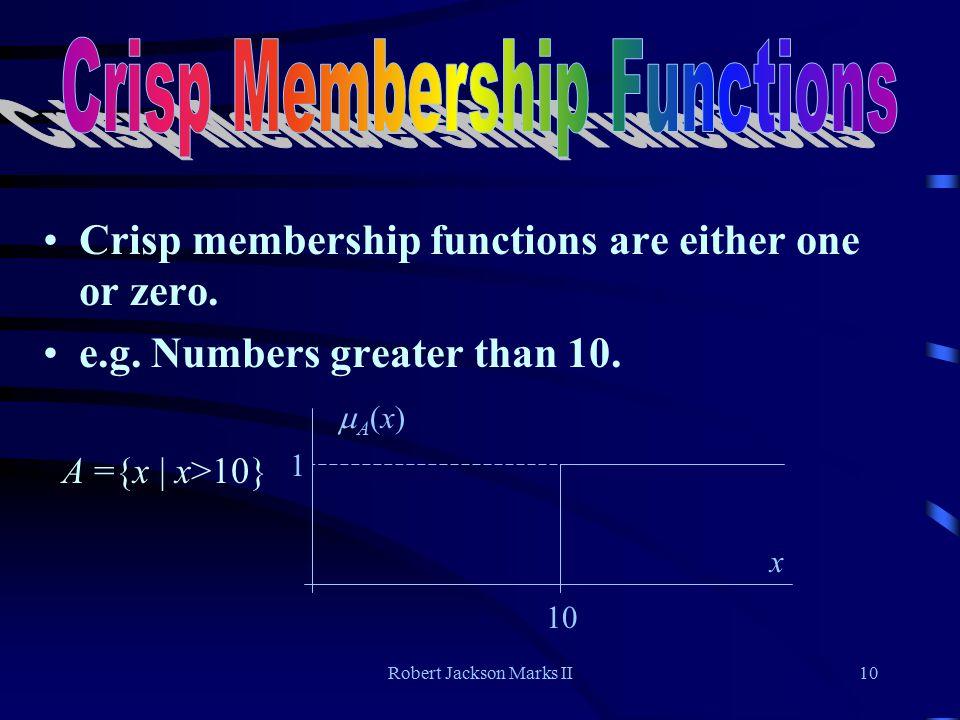 Robert Jackson Marks II10 Crisp membership functions are either one or zero.