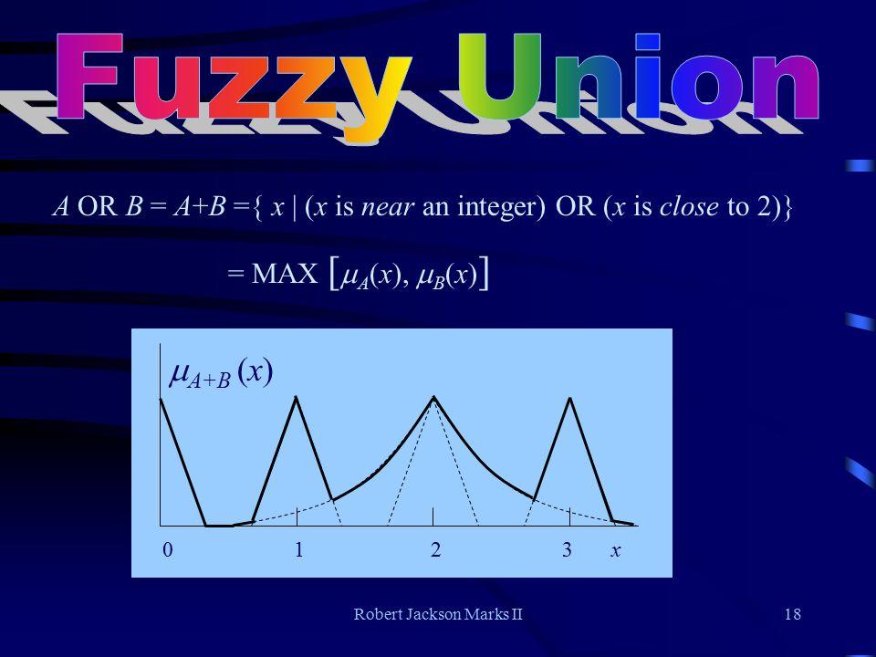 Robert Jackson Marks II18 0 1 2 3 x  A+B (x) A OR B = A+B ={ x | (x is near an integer) OR (x is close to 2)} = MAX [  A (x),  B (x) ]