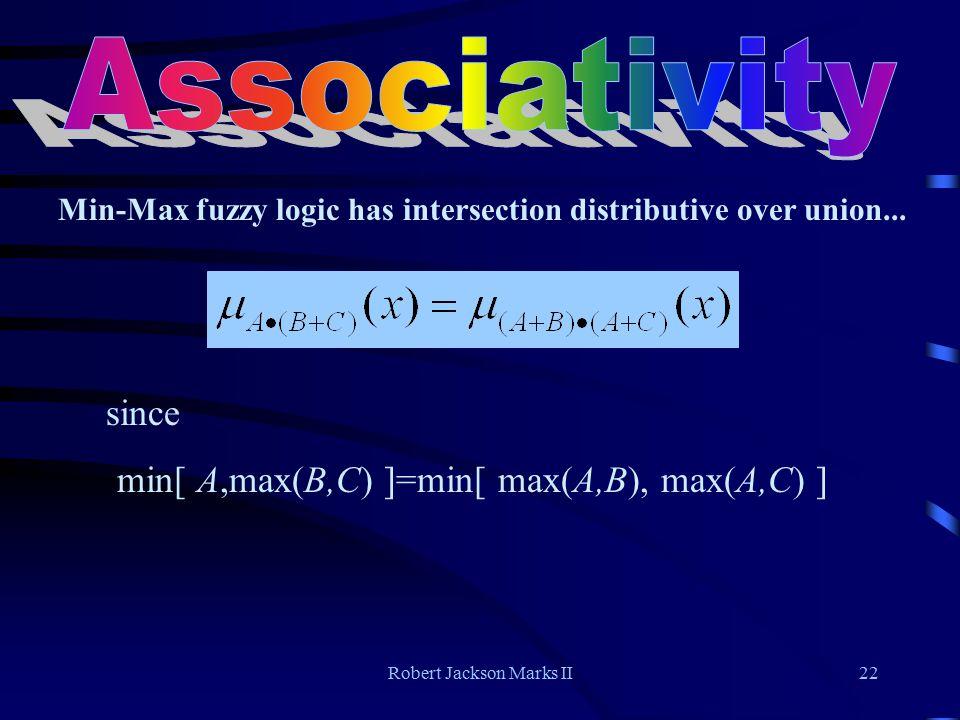Robert Jackson Marks II22 Min-Max fuzzy logic has intersection distributive over union...