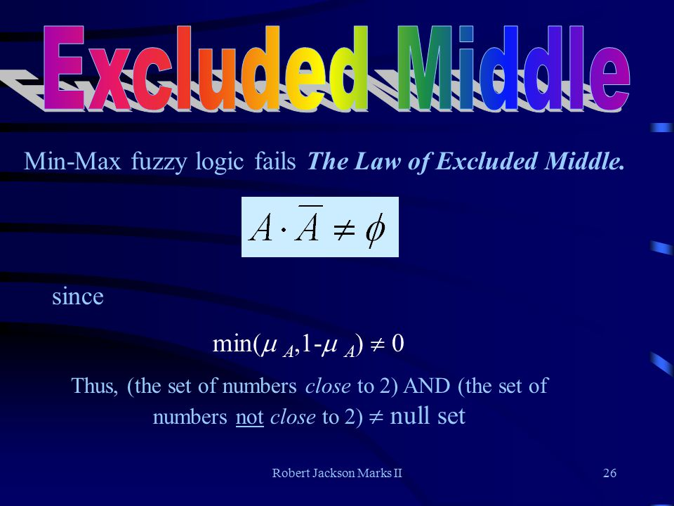 Robert Jackson Marks II26 Min-Max fuzzy logic fails The Law of Excluded Middle.