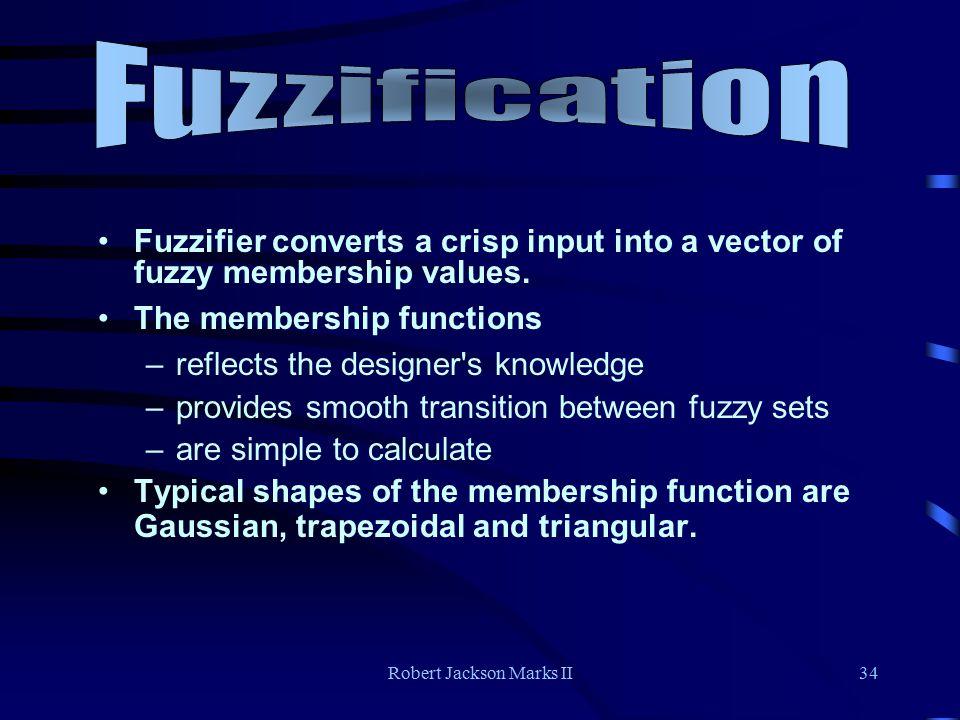 Robert Jackson Marks II34 Fuzzifier converts a crisp input into a vector of fuzzy membership values.