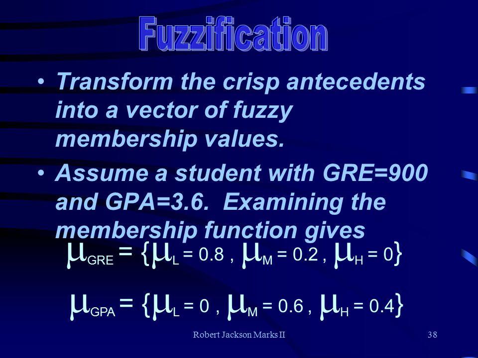 Robert Jackson Marks II38 Transform the crisp antecedents into a vector of fuzzy membership values.