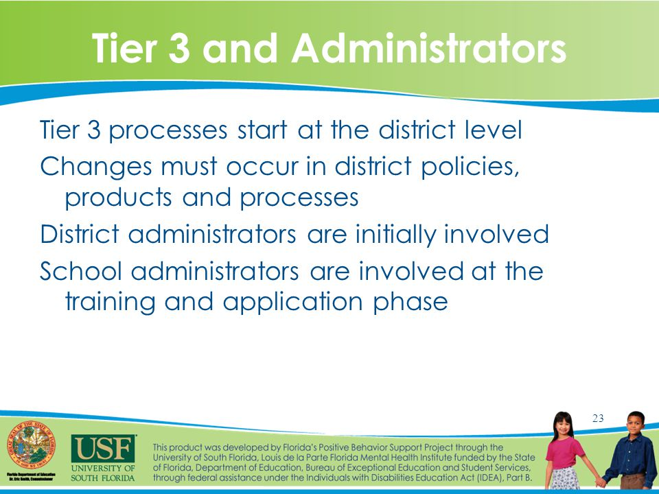 23 Tier 3 and Administrators Tier 3 processes start at the district level Changes must occur in district policies, products and processes District administrators are initially involved School administrators are involved at the training and application phase