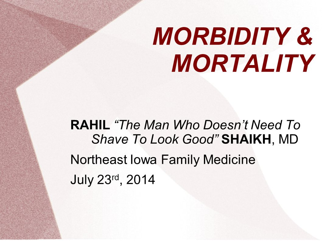 MORBIDITY & MORTALITY RAHIL The Man Who Doesn't Need To Shave To Look Good SHAIKH, MD Northeast Iowa Family Medicine July 23 rd, 2014