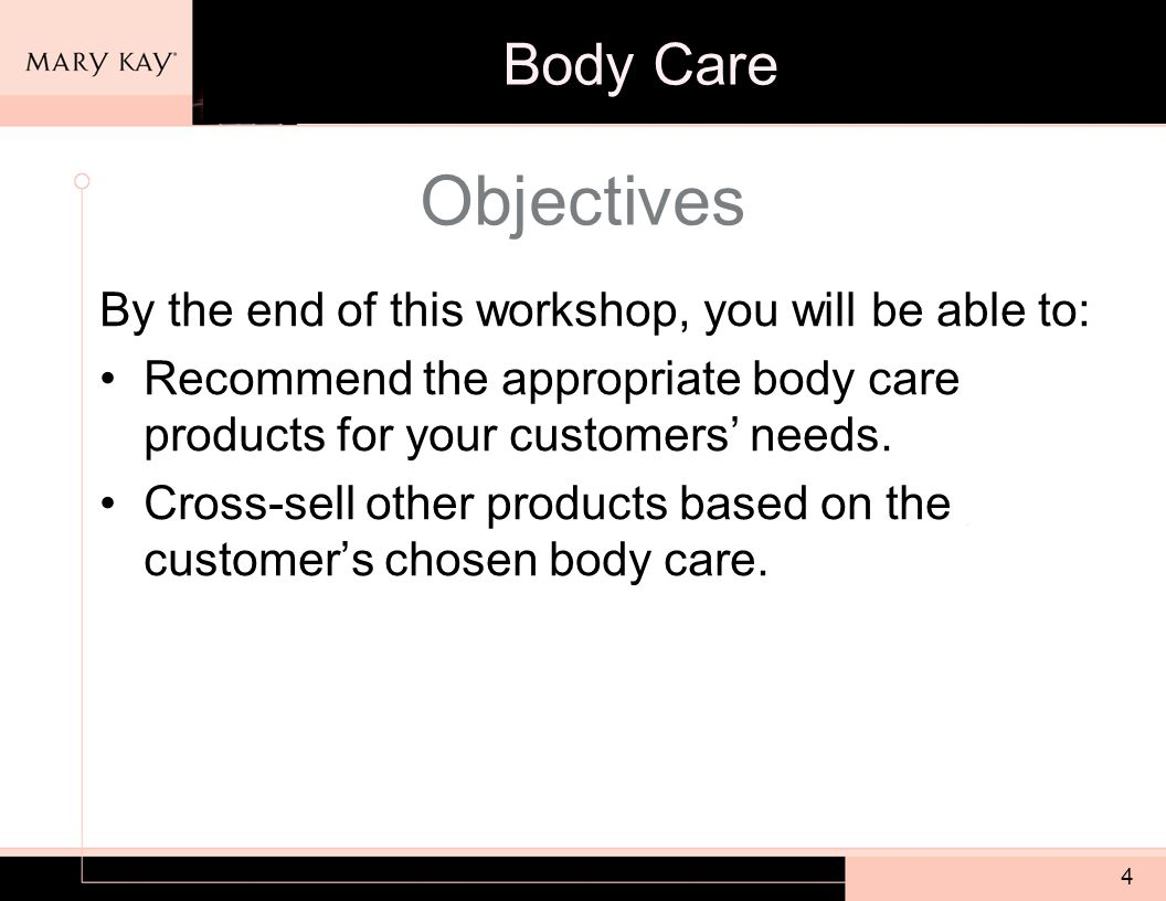 4 Objectives By the end of this workshop, you will be able to: Recommend the appropriate body care products for your customers' needs.