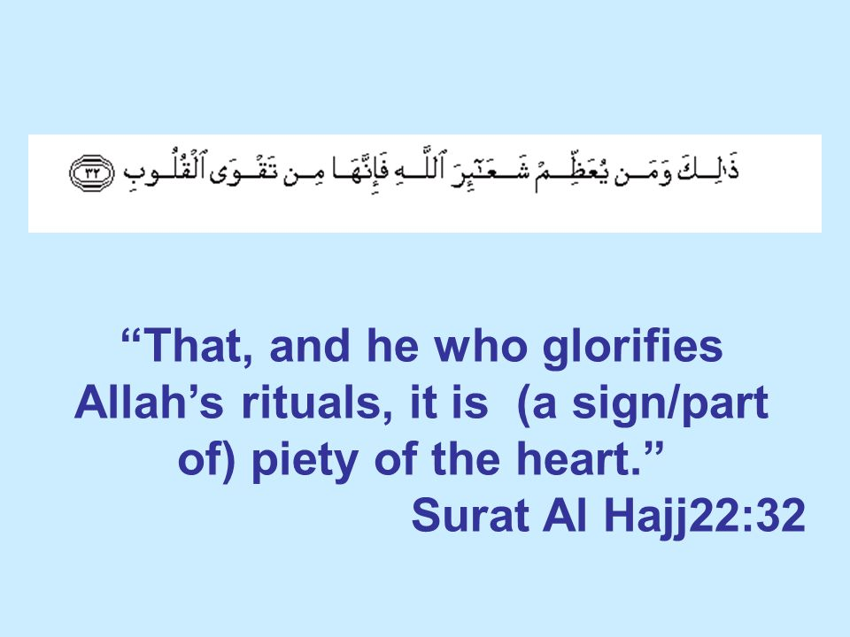 That, and he who glorifies Allah's rituals, it is (a sign/part of) piety of the heart. Surat Al Hajj22:32