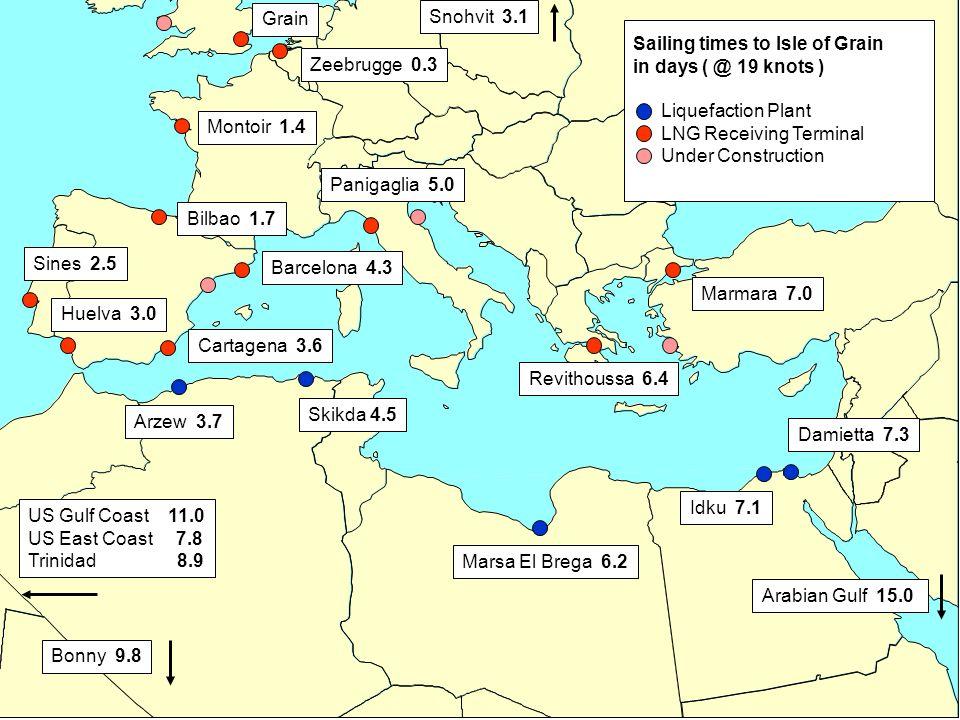 19 US Gulf Coast 11.0 US East Coast 7.8 Trinidad 8.9 Snohvit 3.1 Zeebrugge 0.3 Montoir 1.4 Bilbao 1.7 Grain Sines 2.5 Huelva 3.0 Cartagena 3.6 Barcelo