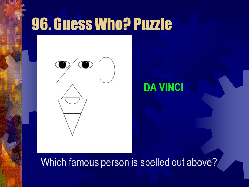 96. Guess Who? Puzzle Which famous person is spelled out above? A I V N D I C (Click for answer)