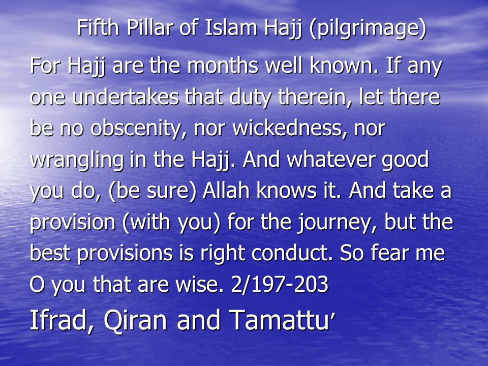 Fifth Pillar of Islam Hajj (pilgrimage) Fifth Pillar of Islam Hajj (pilgrimage) For Hajj are the months well known.