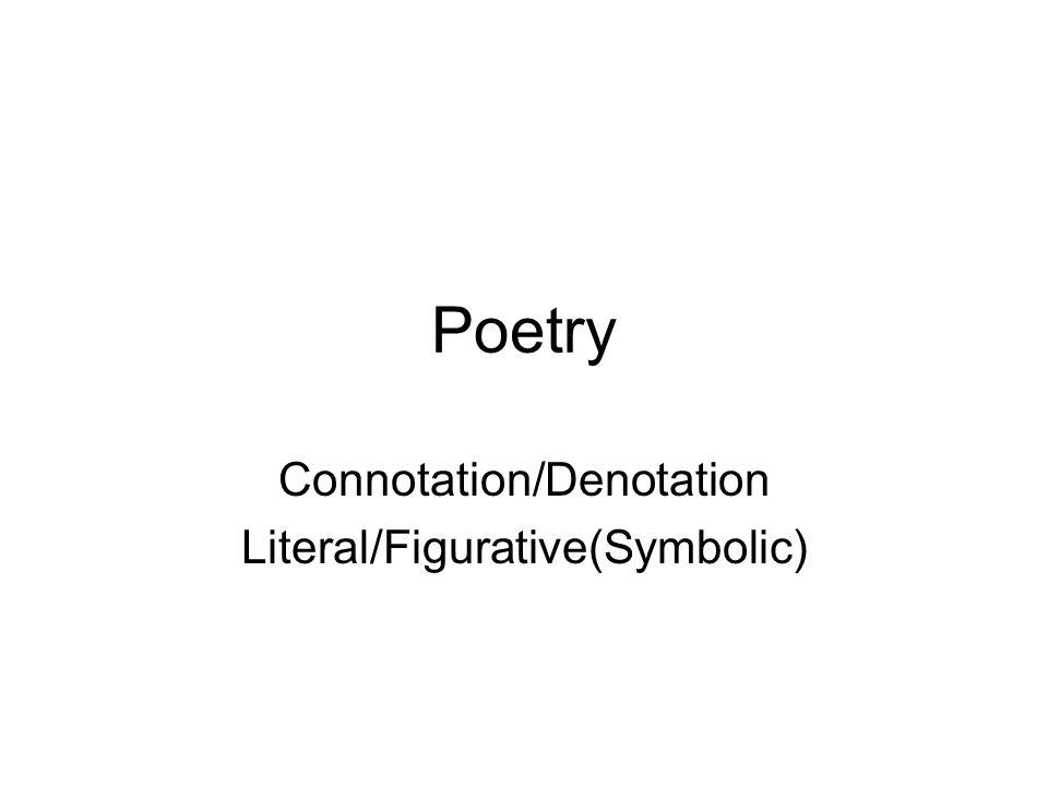 Poetry Connotation/Denotation Literal/Figurative(Symbolic)