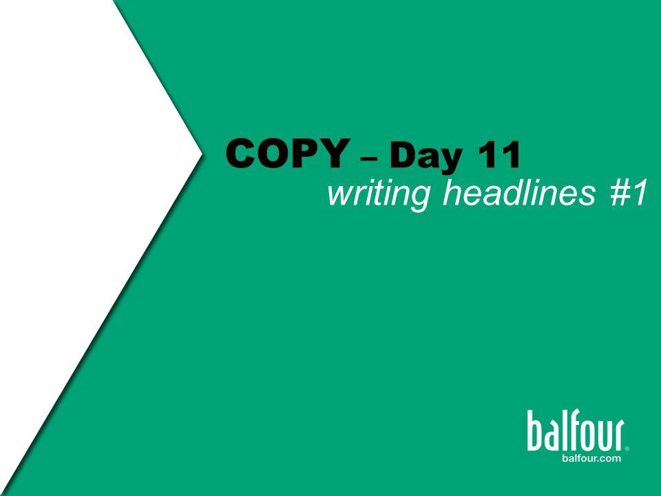 headline writing Copy HEADLINES the VISUAL-VERBAL CONNECTION