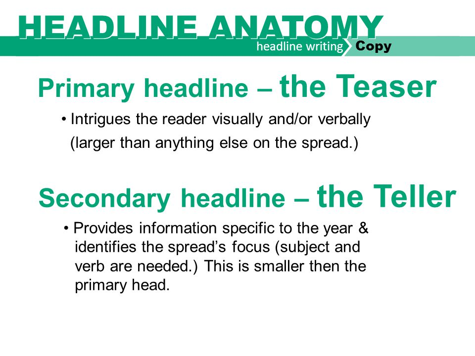 headline writing Copy secondary headline TELLER Homecoming Reign Delay Game, field coronation come to a thundering halt label primary headline TEASER Identify content.