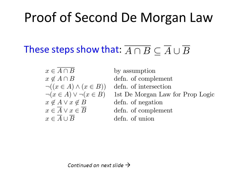 Proof of Second De Morgan Law These steps show that: Continued on next slide 