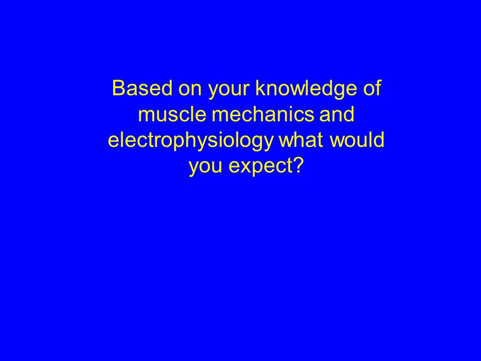 Based on your knowledge of muscle mechanics and electrophysiology what would you expect