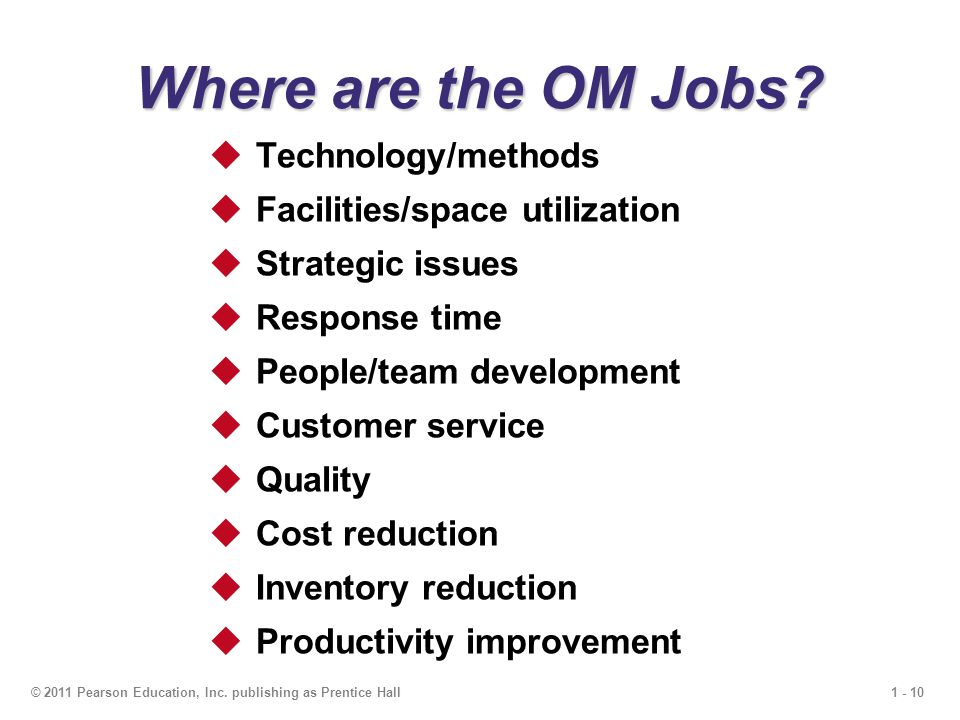 1 - 10© 2011 Pearson Education, Inc. publishing as Prentice Hall Where are the OM Jobs?  Technology/methods  Facilities/space utilization  Strategi