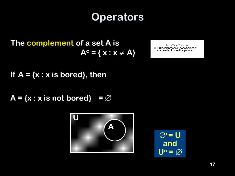 17 Operators The complement of a set A is A c = { x : x  A} If A = {x : x is bored}, then A = {x : x is not bored} A =   c = U and U c =  U
