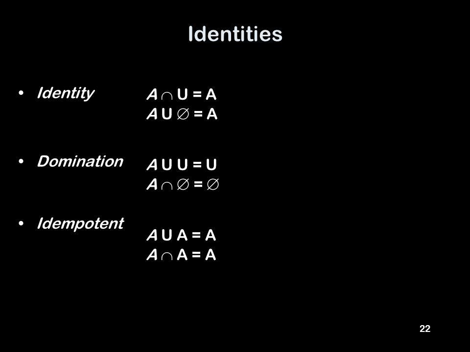 22 Identities Identity Domination Idempotent A  U = A A U  = A A U U = U A   =  A U A = A A  A = A