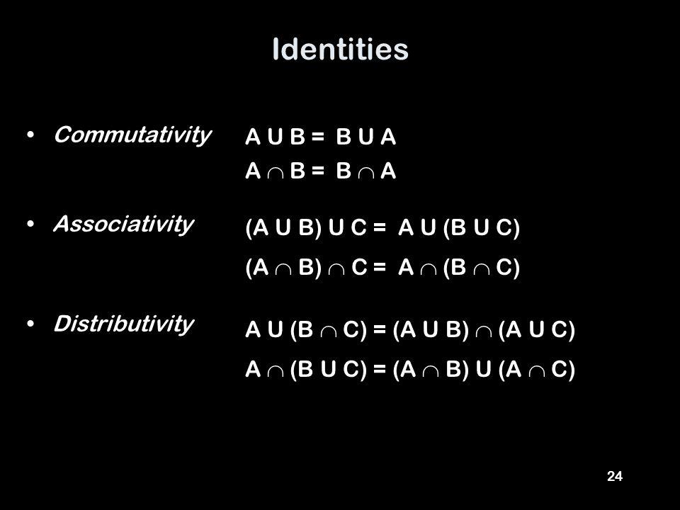 24 Identities Commutativity Associativity Distributivity A U B = (A U B) U C = A  B = B U A B  A (A  B)  C = A U (B U C) A  (B  C) A U (B  C) = A  (B U C) = (A U B)  (A U C) (A  B) U (A  C)