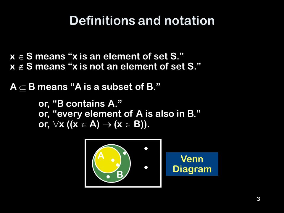 3 Definitions and notation x  S means x is an element of set S. x  S means x is not an element of set S. A  B means A is a subset of B. Venn Diagram or, B contains A. or, every element of A is also in B. or,  x ((x  A)  (x  B)).