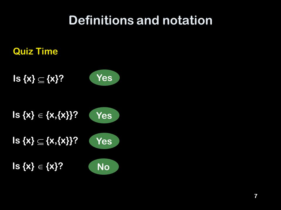 7 Definitions and notation Quiz Time Is {x}  {x}.