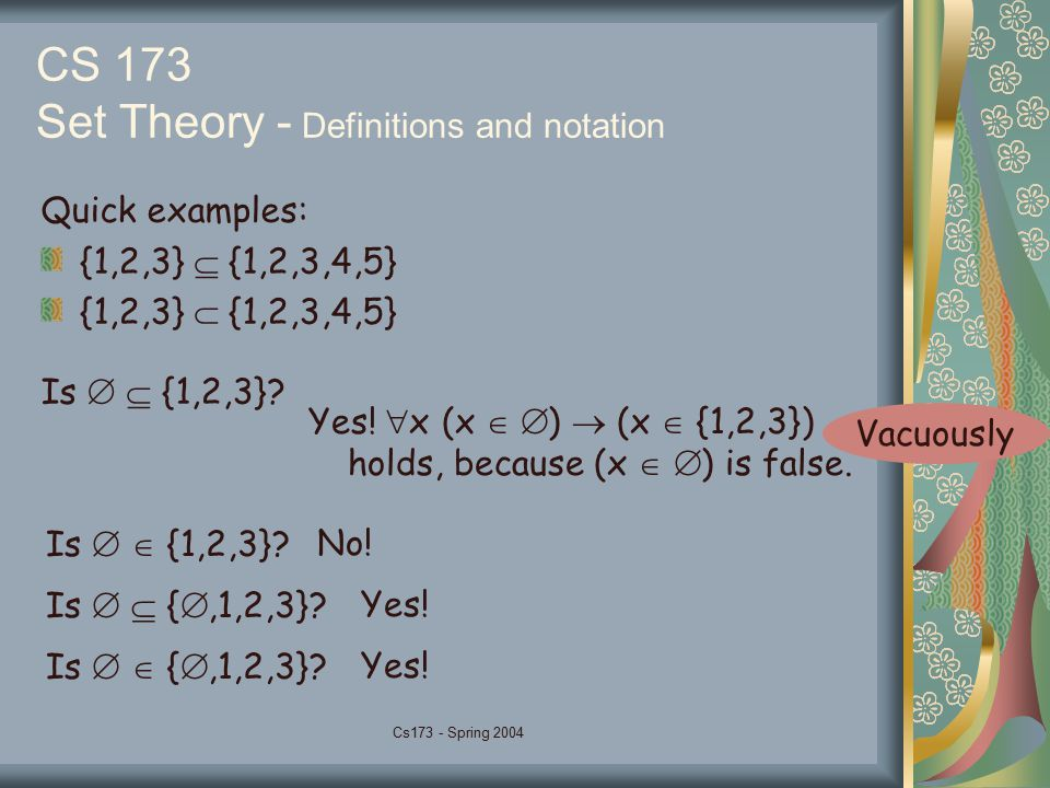 Cs173 - Spring 2004 CS 173 Set Theory - Definitions and notation Quick examples: {1,2,3}  {1,2,3,4,5} {1,2,3}  {1,2,3,4,5} Is   {1,2,3}? Yes!  x