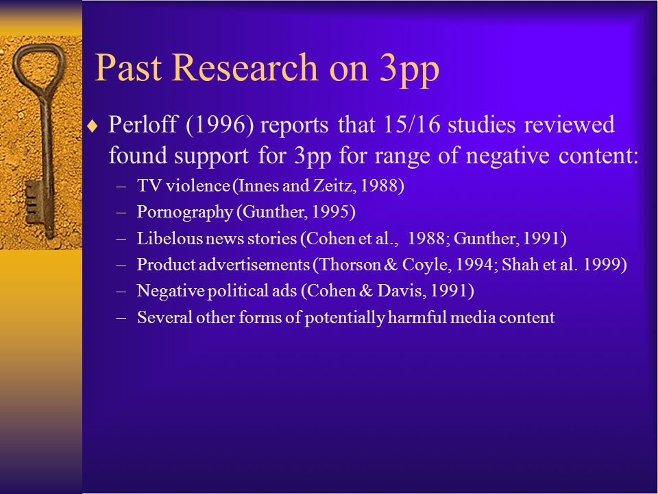 Past Research on 3pp  Perloff (1996) reports that 15/16 studies reviewed found support for 3pp for range of negative content: –TV violence (Innes and Zeitz, 1988) –Pornography (Gunther, 1995) –Libelous news stories (Cohen et al., 1988; Gunther, 1991) –Product advertisements (Thorson & Coyle, 1994; Shah et al.