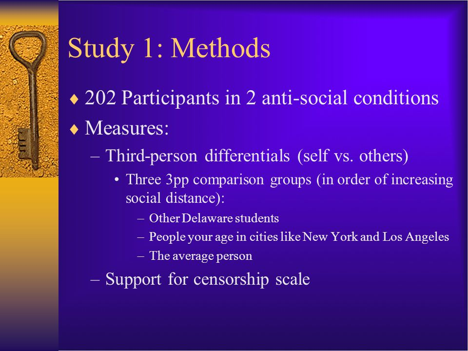 Study 1: Methods  202 Participants in 2 anti-social conditions  Measures: –Third-person differentials (self vs.