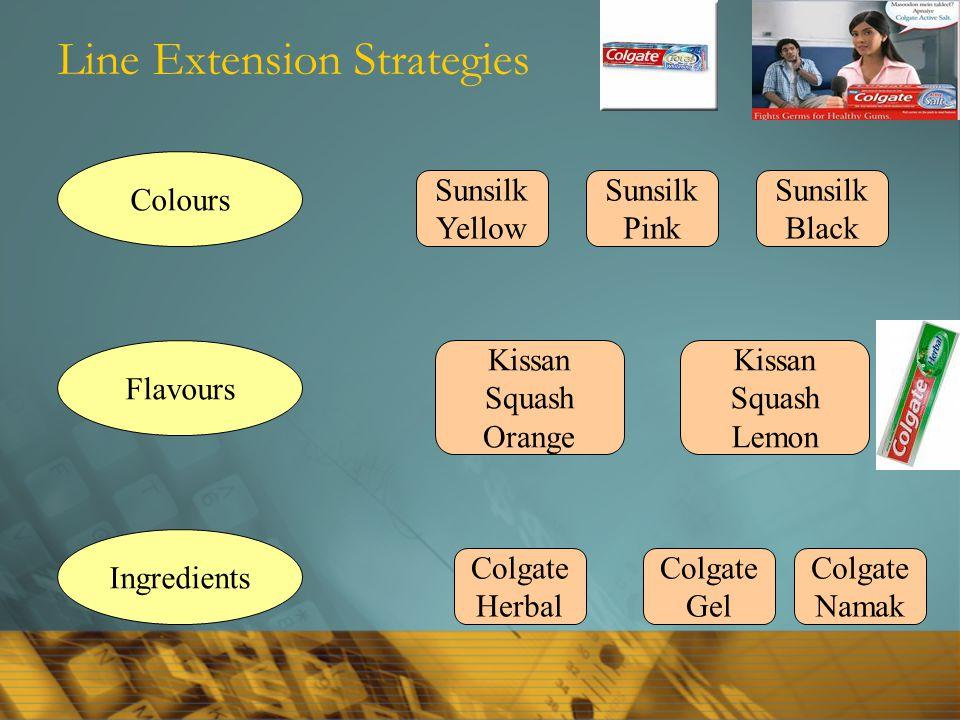 Line Extension Strategies Colours Flavours Ingredients Sunsilk Yellow Sunsilk Pink Sunsilk Black Kissan Squash Orange Kissan Squash Lemon Colgate Herbal Colgate Gel Colgate Namak